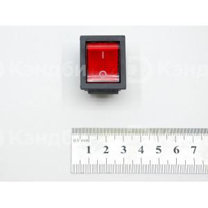 Выключатель клавишный красный (KCD4, 2 положения, 6 контактов)